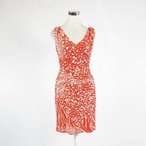 Ann Taylor bright orange white sheath dress 4